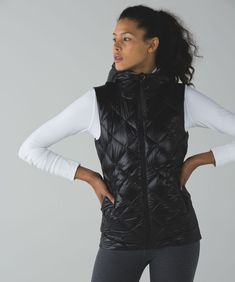 5830c1d2a LULULEMON THE FLUFFIEST VEST SIZE 6 BLACK ZIGGY SNAKE BUTTER PINK DOWN  168   fashion