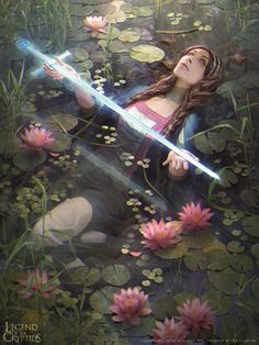 lady of the lake 01 by janaschi, Legend of the Cryptids, Illustration, Swamp, Woman with Sword, Digital Painting, Inspirational Art