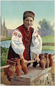 Postcard, Milk lady, 1917 year