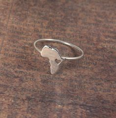 Africa Ring Heart 925 Sterling Silver Ring Map by africandreamland