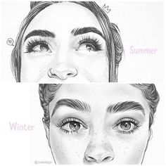 I Love drawing eyebrows summer or winter? Eyebrows Sketch, How To Draw Eyebrows, Drawing Eyebrows, Winter Illustration, Pencil Illustration, Graphic Illustration, Love Drawings, Pencil Drawings, Black Eyeshadow Tutorial