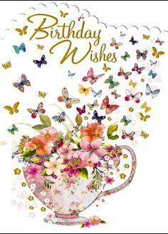– Birthday Floral & Butterflies – Card x - Geburtstag Happy Birthday Greetings Friends, Funny Happy Birthday Images, Happy Birthday Celebration, Happy Birthday Flower, Happy Birthday Friend, Birthday Blessings, Happy Birthday Messages, Happy Birthday Female, Birthday Wishes For Women