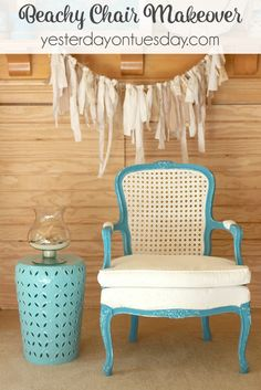 How to makeover a garage sale chair into a beautiful Beachy Chair. It's easy and the results are beautiful. #decoartprojects #chalkyfinish