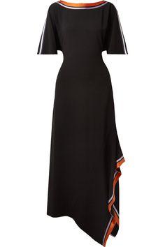 Diane von Furstenberg | Asymmetric satin-trimmed stretch-crepe midi dress | NET-A-PORTER.COM