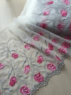 Items similar to 2 Yards Lace Trim Hot Pink Flower Embroidered Tulle Lace Inches Wide on Etsy Embroidery Suits Punjabi, Embroidery Suits Design, Embroidery Designs, Cutwork Saree, Cutwork Embroidery, Border Embroidery, Tulle Fabric, Tulle Lace, Bridal Dupatta