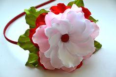 Headband for girls red pink white handmade bobbles satin ribbons Multi-Color #Handmade