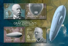 Post stamp Solomon Islands SLM 14505 a	85th anniversary of Graf Zeppelin's round the world flight (Ferdinand Adolf Heinrich August von Zeppelin (1838-1917), LZ 127 Graf Zeppelin, 1929 Round the World Tour, Dr. Hugo Eckener (1868-1954) Commander of LZ 127 Graf Zeppelin)