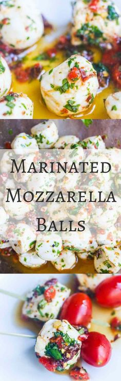 Marinated Mozzarella Balls - skewer with cherry tomatoes for a party appetizer - always a party favorite - super easy and delicious Skewer Appetizers, Bite Size Appetizers, Appetisers, Yummy Appetizers, Appetizers For Party, Appetizer Recipes, Tailgate Appetizers, Party Snacks, Tailgating
