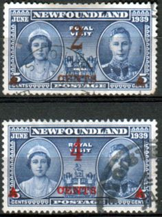 Newfoundland 1939 SG 273 4 Royal Visit Sucharged Set Fine Used SG 273 4 Scott 250 1 Other British Commonwealth Empire and Colonial stamps for sale Here