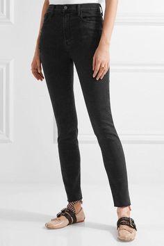 J Brand - Carolina Distressed High-rise Skinny Jeans - Black - 23