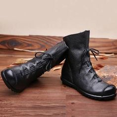 8c459ef8284f SOCOFY Big Size Pure Color Lace Up Ankle Leather Comfortable Zipper Boots  is hot-sale. Come to NewChic to buy womens boots online.