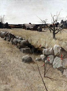 """""""The Stone Fence"""", Andrew Wyeth. (via)  This is a melancholy scene; it makes me think of Proverbs 23:10."""