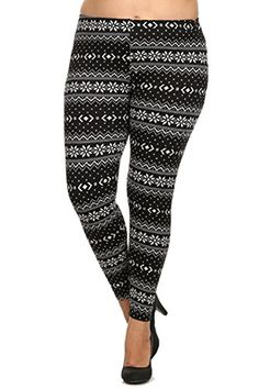 9358bc30368e7 Always Womens Junior Plus Size Fleece Lined Black Nordic Print Stretch  Leggings  Junior plus sized