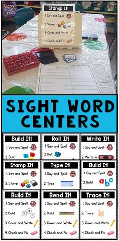 Looking for fun independent sight word centers for your kindergarten, first grade, or second grade class? Use these hands on activities with any high frequency word or spelling list. Visual directions make them easy to teach and prep! Sight Word Centers, Word Work Centers, Sight Word Practice, Sight Word Games, Sight Word Activities, Hands On Activities, Listening Activities, Spelling Centers, Spelling Practice