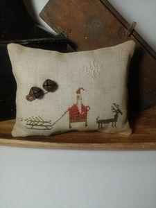 primitive cross stitch sampler Bringing Home the Tree Pineberry Lane