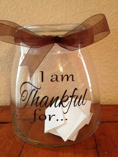 I Am Thankful Glass Mason Jar Crafts for 2014 Thanksgiving - DIY, Ribbon  #2014 #Thanksgiving