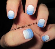 Today's Daily Nail Art is this blue striped gradient design by nevsnailart. If the sponged technique is too difficult for you, perhaps this might be a great alternative.