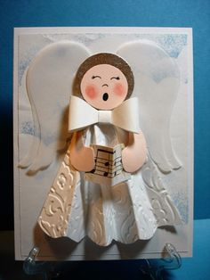 - Angels We Have Heard on High by pvilbaum - Cards and Paper Crafts at Splitcoaststampers Homemade Christmas Cards, Homemade Cards, Christmas Crafts, Xmas Cards, Holiday Cards, Lace Stencil, Snow Party, Handmade Angels, Angel Crafts