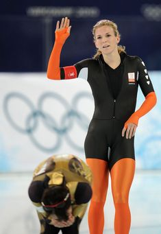 women's speed skating | of Netherlands reacts after finishing in the women's speed skating ...