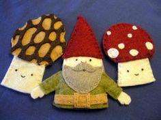 gnome finger puppet set. Love the mushrooms!