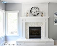 floor to ceiling fireplace surround adds height, board and batten