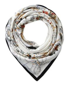 "Corciova®  35"" Silk-like Big Square Scarf 35 x 35 (Flowers black edge white background)"