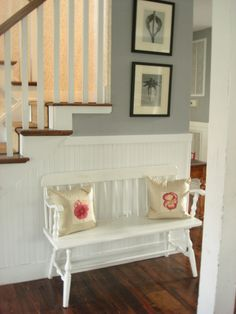 Hallway with wall panelling and your own white bench seat.Tamara Stephenson Interior Design #hallway #panelling