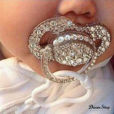 Binky with bling! Baby girl fashion with a bit of sparkle. Baby Bling, Bling Bling, Camo Baby, My Baby Girl, Our Baby, Baby Boys, Baby Girl Shoes, Carters Baby, Everything Baby