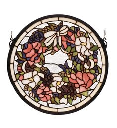 REVIVAL WREATH AND GARLAND MEDALLION STAINED GLASS WINDOW » SS Home Accents - Always FREE SHIPPING