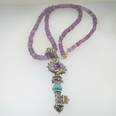 Bixby Sterling Silver & 18k Amethyst Turquoise Skeleton Key Necklace