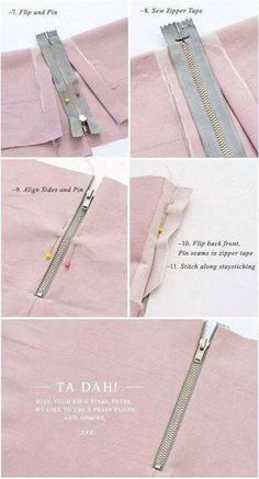 { Cómo : } Coser una cremallera expuesta (con una costura) Pattern Runway - Sewing Patterns for the modern seamstress.: {How to:} Sew an Exposed Zipper (with a seam) Sewing Basics, Sewing Hacks, Sewing Tutorials, Sewing Crafts, Sewing Patterns, Sewing Tips, Dress Patterns, Sewing Ideas, Dress Tutorials