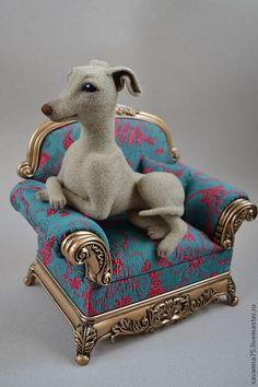 Beautiful needle felted Italian Grayhound. By SavAnna from Russia