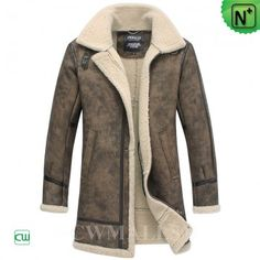 CWMALLS® Retro Leather Shearling Coat CW838001 - Leather shearling coat for men, it is crafted from ecological sheepskin shearling material with prints which gives this shearling coat a retro style, it will offer you a slim look and keep you extremely warm in these cold days.