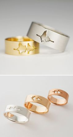 """Wavelength wedding bands that say """"I Do"""". Be cute to record your loved one's sayings or heartbeat."""
