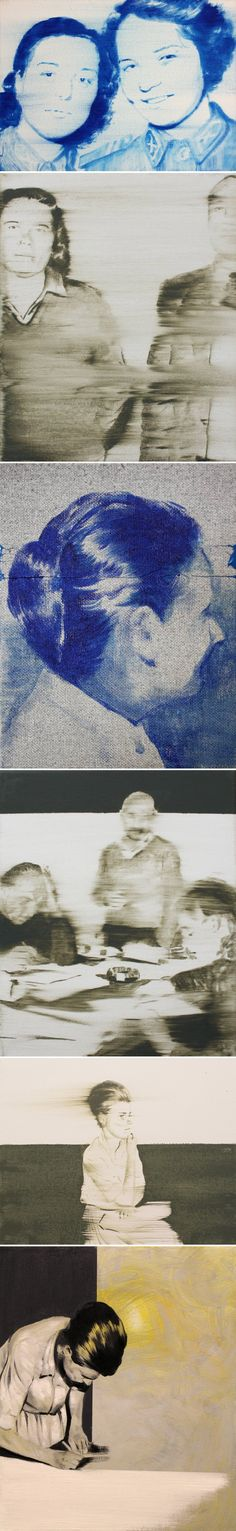 Oil paintings (inspired by vintage photographs from Hungarian jails in the 1950s!) by Janos Huszti