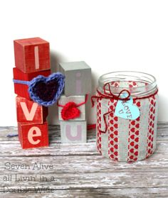 Cute blocks, I could do that, jars cute too, posted that under altered bottles, jars, and cans