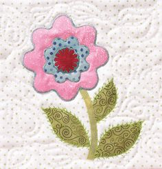 """""""Flower Block"""" from Appliqué The basics & beyond. Without a doubt, this is one of the best resources for anyone who wants to learn to appliqué on quilts (or learn to do it better!). With step-by-step photos and how-to directions, it covers everything from choosing fabric to how to appliqué by hand or machine, to embellishing your quilt appliqué patterns. Find it online: http://landauerpub.com/Applique-The-basics-beyond.html"""