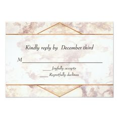 Chic Marble and Gold Wedding RSVP Card - gold wedding gifts customize marriage diy unique golden