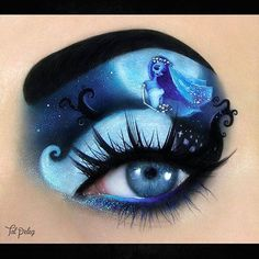How amazing is this eye makeup by @tal_peleg?! One of our favourites, The Corpse Bride. #TheCorpseBride #makeup #makeupgoals #art #eyeshadow #timburton #gothic