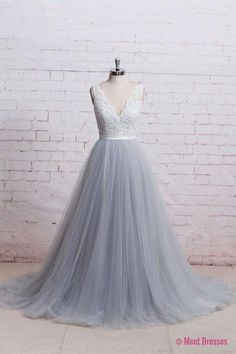 A-Line V-Neck Ivory Lace Bodice Grey Tulle Skirt Chapel Train Appliques Wedding Dress PM287Buy A-Line V-Neck Ivory Lace Bodice Grey Tulle Skirt Chapel Train Appliques Wedding Dress on https://www.LovesDresses.com/