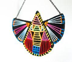 Navajo necklace - Aztec Navajo native Hand Embroidered Necklace