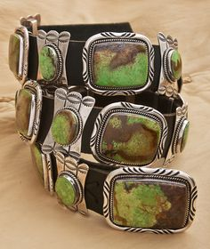 Turquoise - Sterling Silver Concho Belt - Artist Esther Wood $6900.00 This…