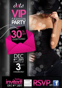 2011 Dots VIP Fashion Party Flyer Invite Design  | Email Design
