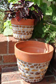 Great idea for enhancing a plain clay pot!