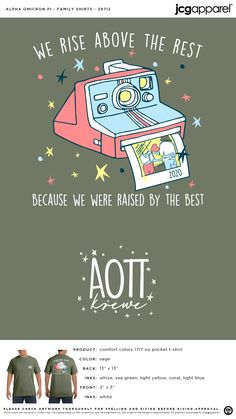 Alpha Omicron Pi Family Shirt | Sorority Family Shirt | Greek Family Shirt #alphaomicronpi #aopi #aoii #aop #Family #Shirt #camera #photos Sorority Family Shirts, Sorority And Fraternity, Alpha Omicron Pi, Custom Design Shirts, Family Weekend, Rise Above, Comfort Colors, Photo S, Colorful Shirts