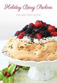 Holiday Berry Pavlova (low-carb, keto, primal)