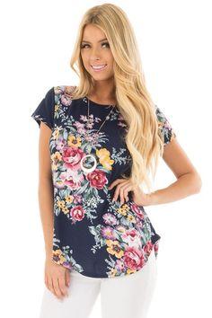 ec62d9d264 Lime Lush Boutique - Navy Floral Print Tee Shirt
