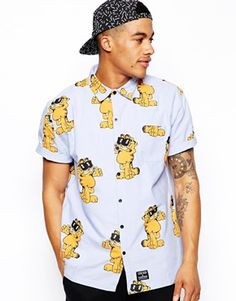 Lazy+Oaf+Short+Sleeve+Shirt+in+Garfield+Print