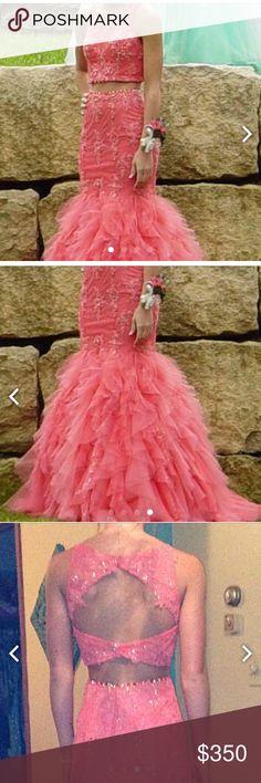 Beautiful two piece coral Mori Lee prom dress Stunning is an understatement!!  Mori Lee Paparazzi Mori Lee Dresses Prom