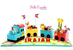 This cake could have farm animals in rather than jungle animals Trains Birthday Party, 1st Birthday Cakes, Train Party, Third Birthday, 2nd Birthday Parties, Baby Birthday, Pirate Party, Baby Boy Cakes, Cakes For Boys
